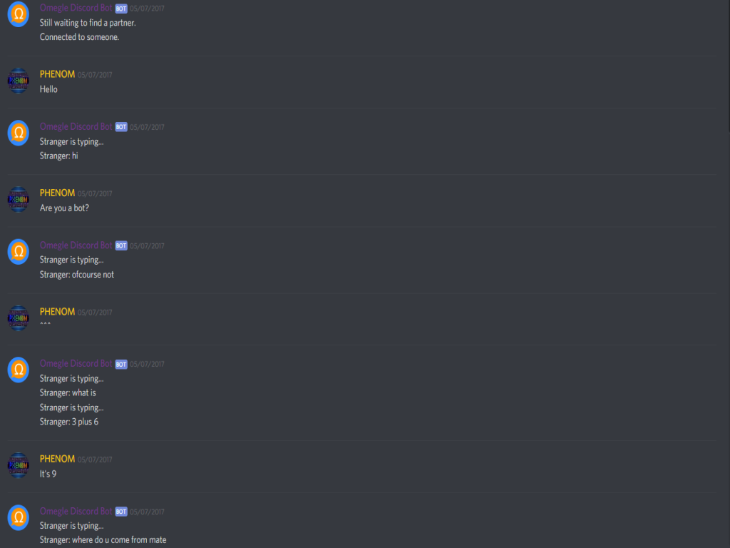 Omegle Discord Bot Chat Example